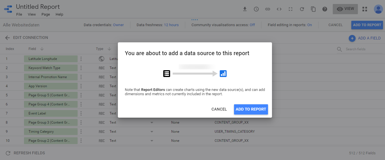 Google Data Studio_Add to Report