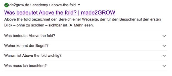 Beispiel für FAQ Markup
