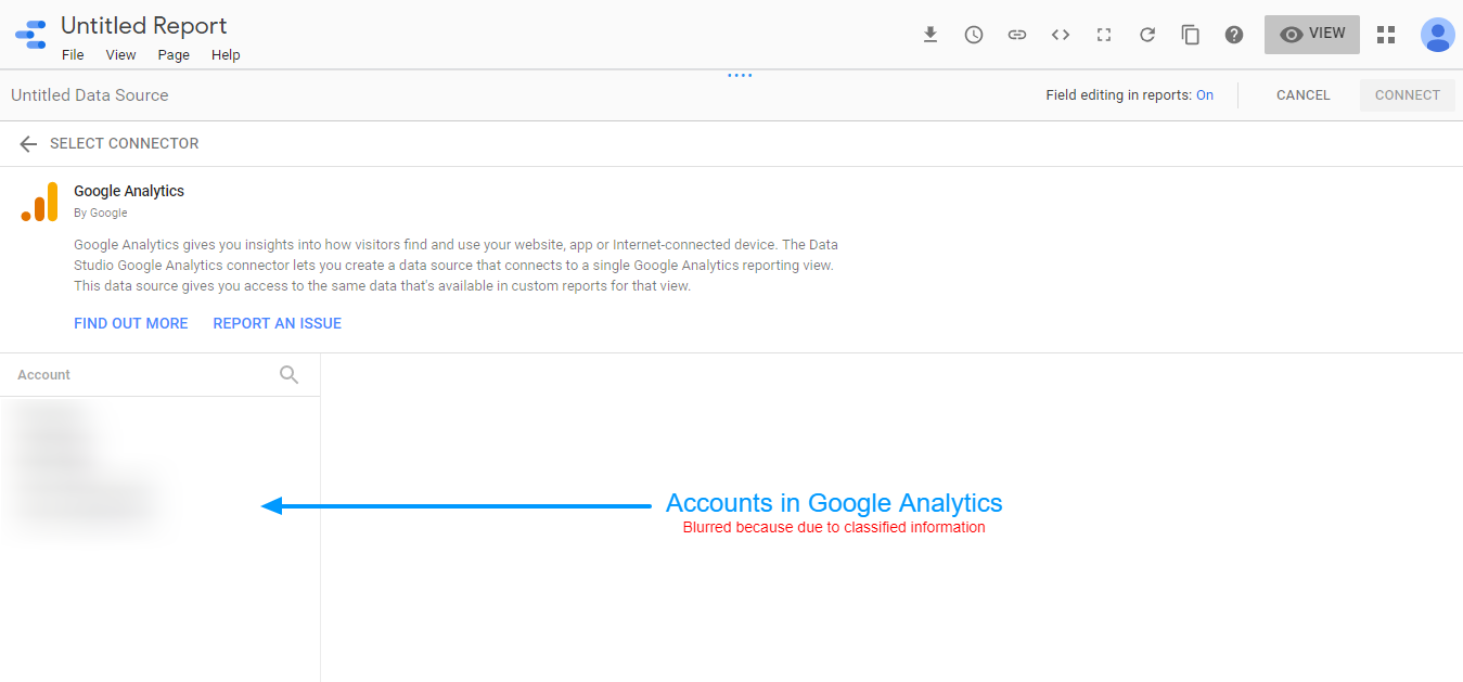 Google Data Studio- Choosing Google Analytics accounts