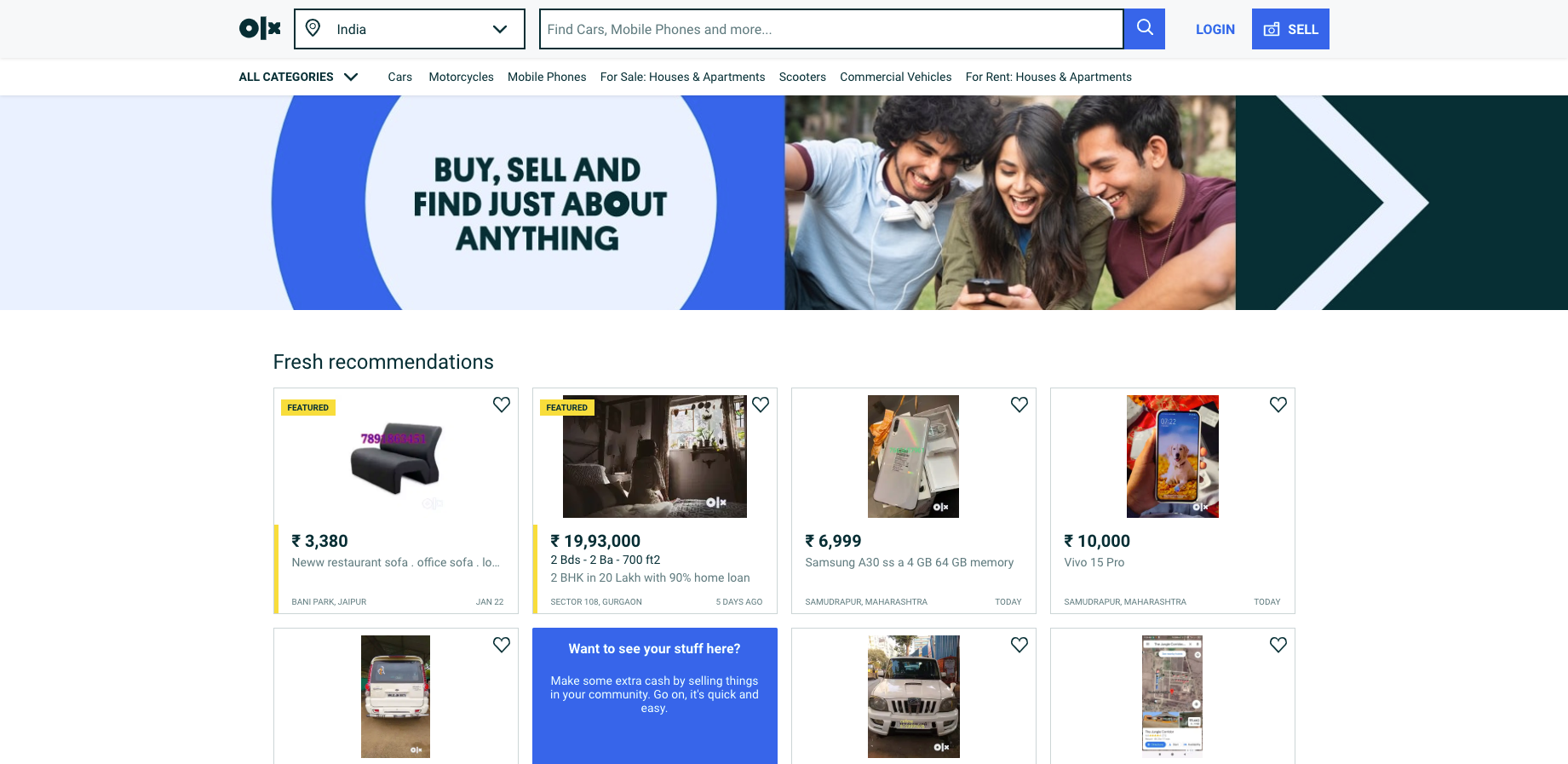OLX - Free classifieds in India  Buy and Sell for free anywhere in India with OLX Online Classified Advertising