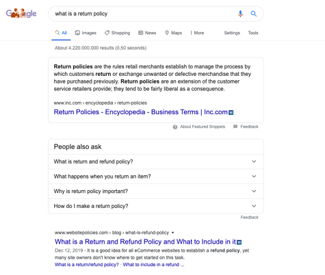 what is a return policy - Google Search